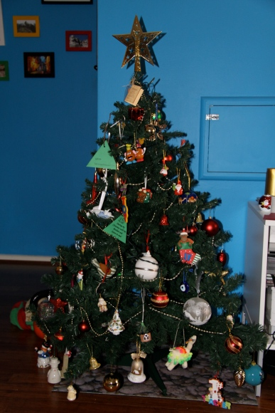 Our humble Christmas tree that may need to be upgraded if we get more ornaments