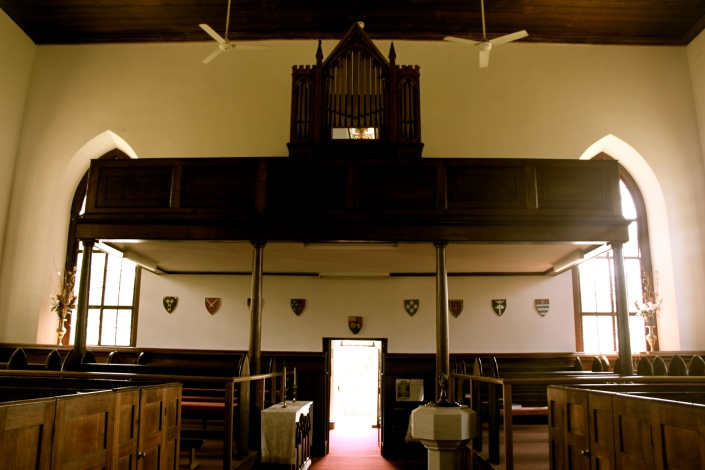The organ at the back of the church. And the normal church pews we are use to seeing
