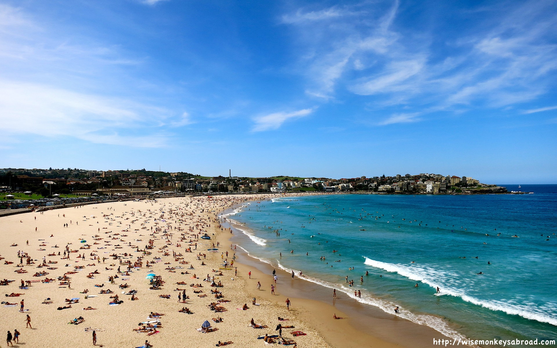 Hundreds of people relaxing on Bondi Beach