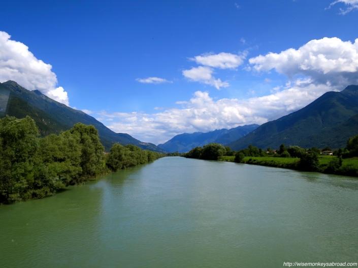 Crossing a bridge on the way Bellinzona
